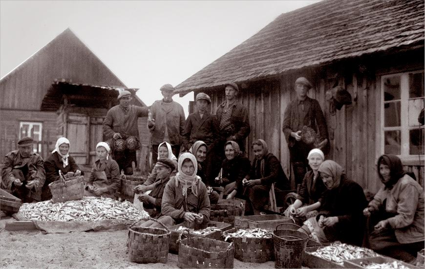 Käsmu rahvas 1936.a. Võrkneemes kala rookimas Allikas: Aarne Vaigu erakogu