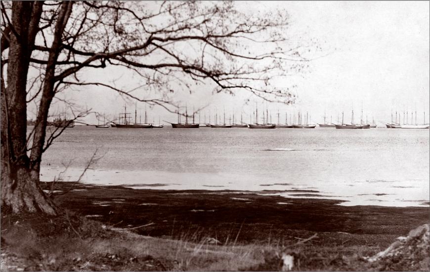 Laevade talvitumine Käsmu lahel, 19.saj. lõpp. Allikas: Aarne Vaigu erakogu