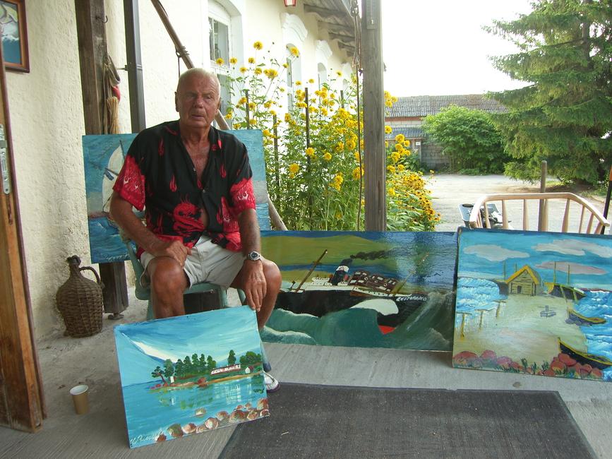 Urmo Rüütel, 5.08.2014 Käsmu Meremuuseumi trepil oma maalidega