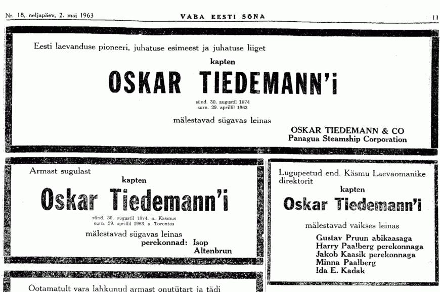 Vaba Eesti Sõna / kaastundeavaldus