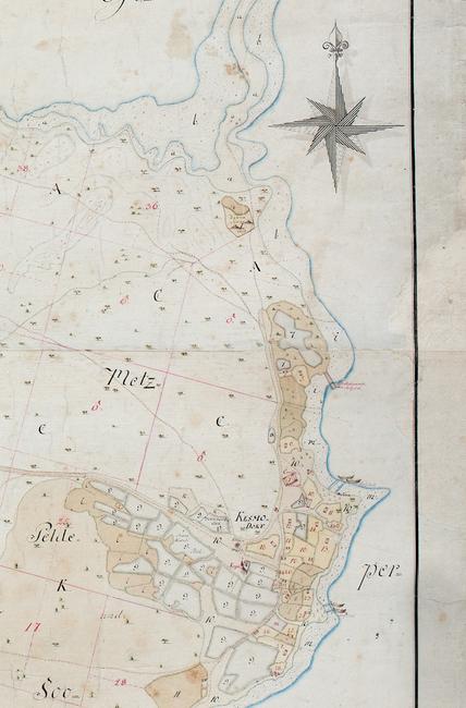 Kasmu kaart sadamate fragment 1793 kaardist